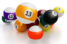 Free Colorful Pool Balls Over White Royalty Free Stock Photos - 24058148