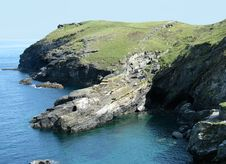 Free Tintagel Coast Cliff Royalty Free Stock Images - 24059129