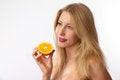 Free Caucasian Woman Holding Orange Royalty Free Stock Photos - 24062828