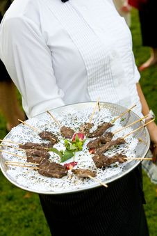 Free Wedding Appetizers Being Served Stock Photos - 24061313