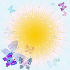 Abstract Spring Frame With Rays Royalty Free Stock Image