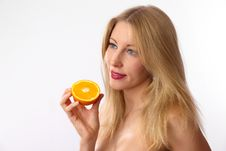Free Caucasian Woman Holding Orange Royalty Free Stock Photos - 24062828