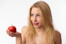 Free Caucasian Woman Offering Apple Stock Image - 24062931