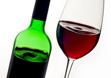 Free Bottle And Glass With Red Wine Royalty Free Stock Image - 24064066