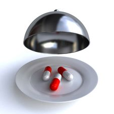 Free Pills On The Plate Royalty Free Stock Photos - 24065878