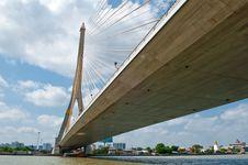 Free Rama VIII Bridge In Bangkok Viewed From Below Royalty Free Stock Photos - 24066498