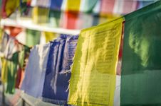 Free Closeup Of Tibetan Prayer Flags Royalty Free Stock Photo - 24066685