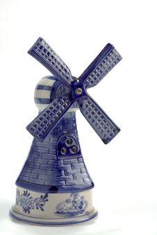 Vintage Blue Delft Porcelain Windmill Royalty Free Stock Image
