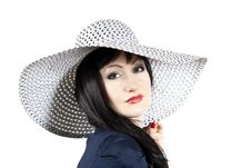 Beautiful Girl In The Hat Royalty Free Stock Photography