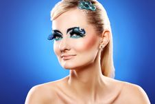 Free Beautiful Blonde With Artistic Makeup Royalty Free Stock Photo - 24069545