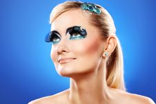 Free Beautiful Blonde With Artistic Makeup Royalty Free Stock Image - 24069546