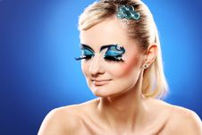 Free Beautiful Blonde With Artistic Makeup Royalty Free Stock Photos - 24069548