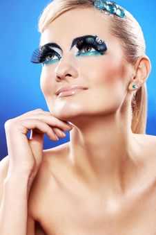 Free Beautiful Blonde With Artistic Makeup Stock Images - 24069554