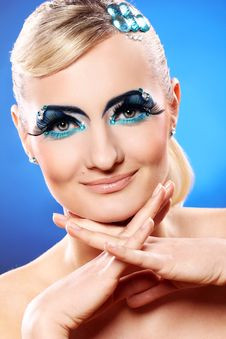 Free Beautiful Blonde With Artistic Makeup Royalty Free Stock Photo - 24069555