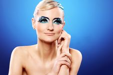 Free Beautiful Blonde With Artistic Makeup Stock Photography - 24069562