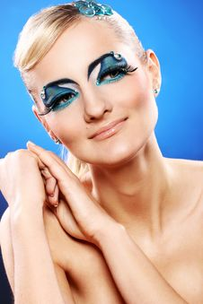 Free Beautiful Blonde With Artistic Makeup Stock Photos - 24069563