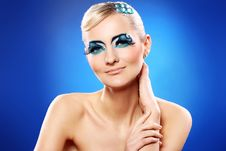 Free Beautiful Blonde With Artistic Makeup Stock Photography - 24069572
