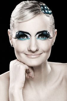 Free Beautiful Blonde With Artistic Makeup Royalty Free Stock Photo - 24069585
