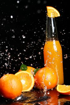 Free Fresh Orange Drink With Splashes Of Water Stock Images - 24069614