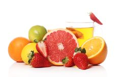 Free Tea With Fresh Fruits Royalty Free Stock Image - 24069766