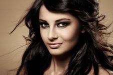 Portrait Of Beautiful Brunette Stock Photography