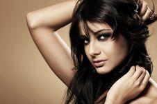 Portrait Of Beautiful Brunette Stock Images