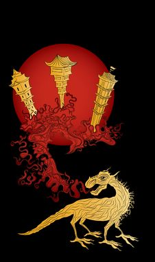 Free Golden Dragon And The Ancient China Town Royalty Free Stock Photo - 24071605