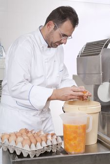Pastry Chef Prepares The Ingredients Stock Images