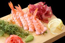 Free Sashimi Ebi On A Board Stock Image - 24075441