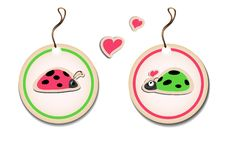 Free Vector Set Of Tags With Ladybirds In Love Stock Photo - 24076730