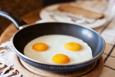 Free Frying Pan With Three Fried Eggs Stock Photography - 24078932