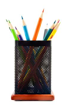 Free Color Pencils In The Glass  On A White Royalty Free Stock Photo - 24079105