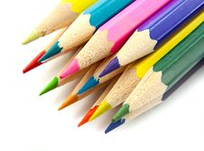 Free Color Pencils  On A White Top View Stock Photography - 24079132