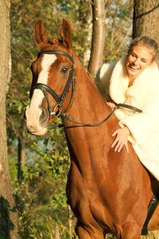 Free Bride Ride On Red  Horse In Forest Royalty Free Stock Images - 24079419