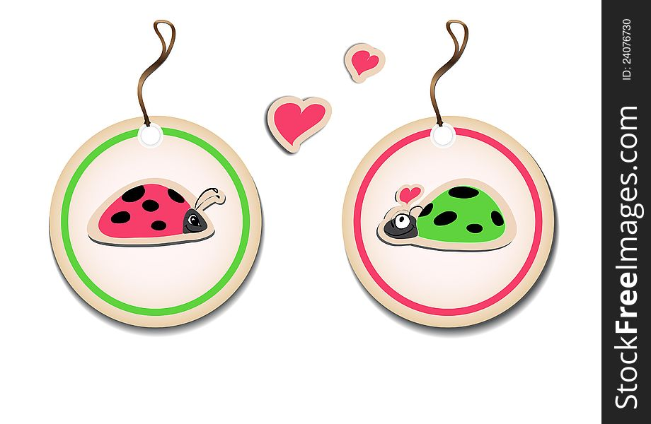 Vector set of tags with ladybirds in love