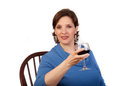 Free Woman Drinking Red Wine Stock Images - 24082834