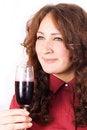 Free Beautiful Female Lips Drinking Wine Stock Photography - 24088872