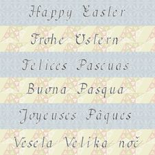 Happy Easter &x28;in Six Different Languages&x29; Stock Photography
