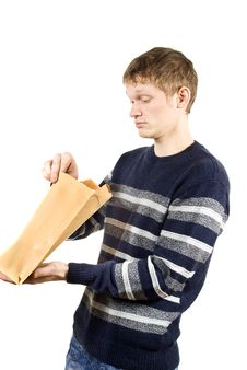 Free Guy Looking Package Stock Photography - 24086472