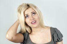 Free Sorrowful Girl Thinks Stock Photography - 24086512