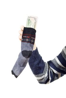 Free The Money Is Kept In A Sock Royalty Free Stock Photo - 24087165