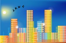 Free Flying Birds Above Rainbow Color City Royalty Free Stock Photo - 24088485