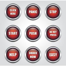 Free Aluminium Red Buttons Stock Photography - 24089362