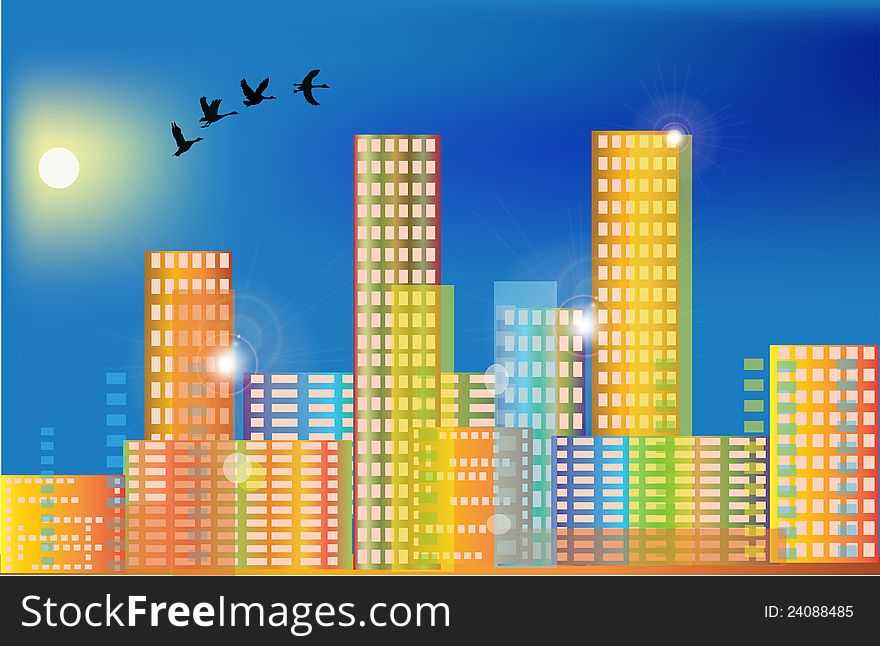 Flying birds above rainbow color city