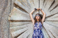 Free Woman In A Sundress At The Stone Wall Royalty Free Stock Images - 24099709
