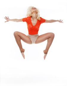 Free Aerobics. Active Acrobatic Female Dancing Royalty Free Stock Images - 24092779