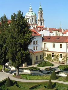Prague Rooftops And Garden Royalty Free Stock Images