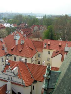 Prague Tiled Rooftops Stock Photography