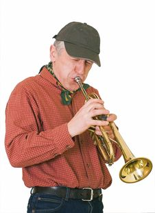 Free Jazzman Plays A Trumpet Stock Photography - 24094662