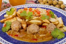 Meat Balls With Rice And Potatoes Stock Photography